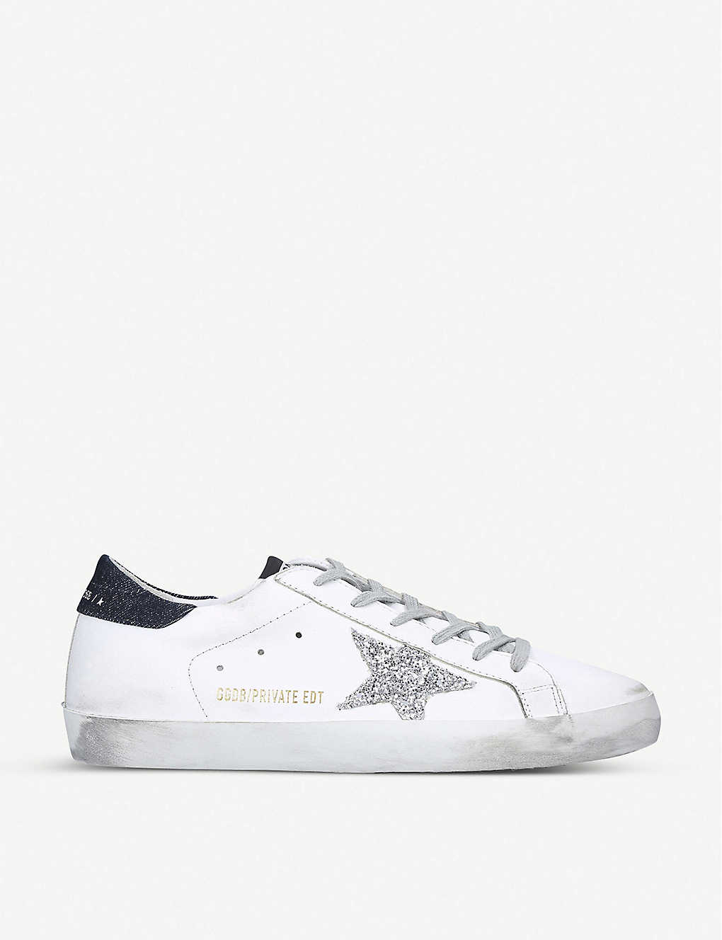 GOLDEN GOOSE: Superstar Z13 glitter star-appliqué leather trainers