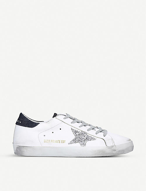 GOLDEN GOOSE Superstar Z13 glitter star-appliqué leather trainers