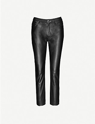 WON HUNDRED: Sally slim-leg mid-rise leather jeans
