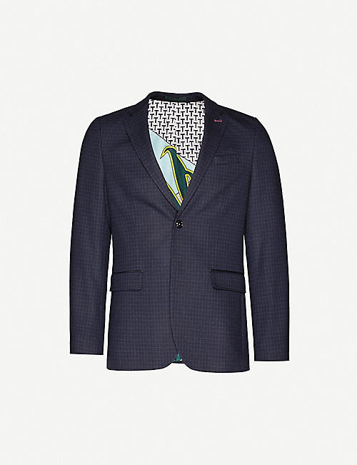 TED BAKER: Micro-check regular-fit stretch-woven blazer