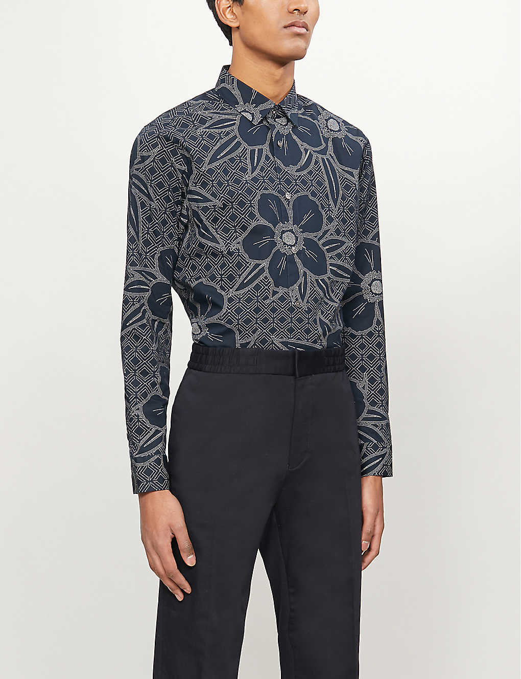 TED BAKER: Floral print stretch-cotton shirt