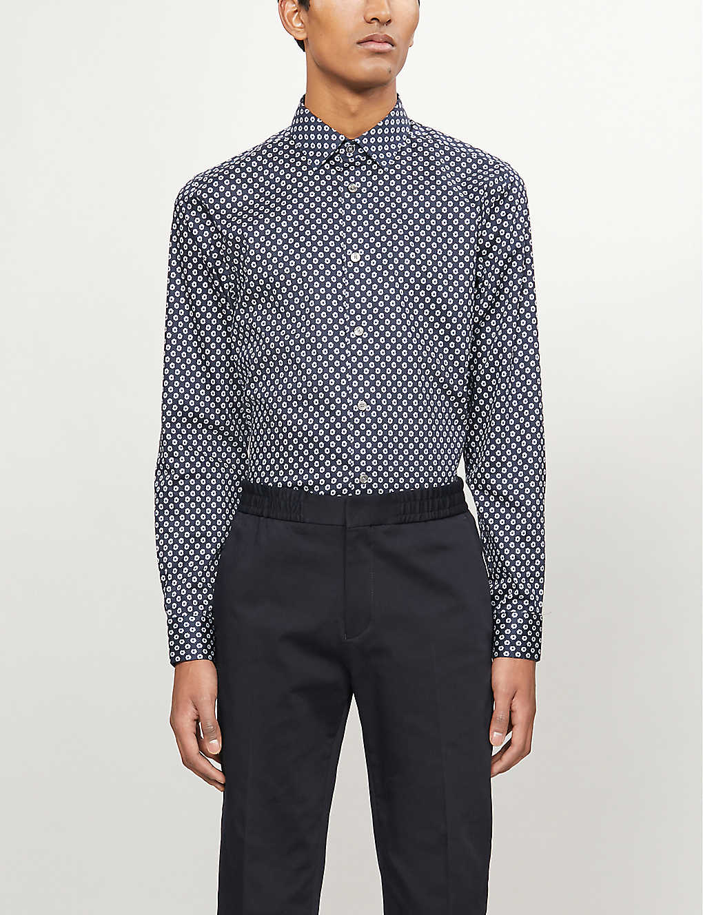 TED BAKER: Heknows floral-print slim-fit stretch-cotton shirt