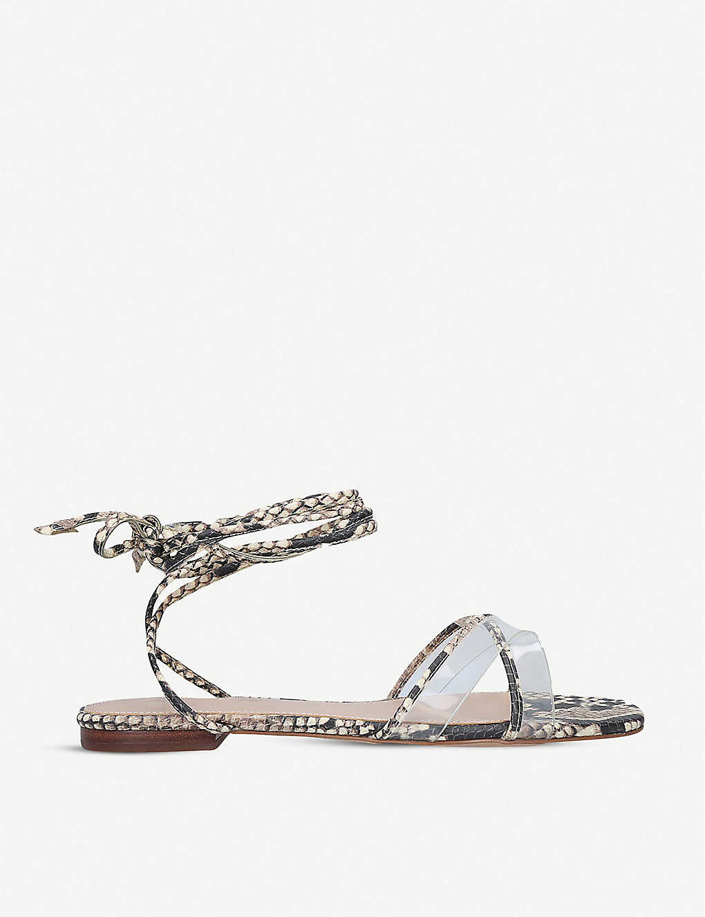 ALDO: Candid lace-up snake-embossed faux-leather and perspex sandals