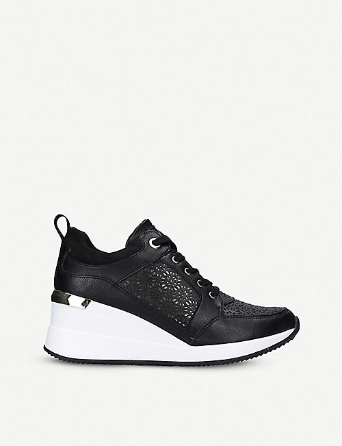 ALDO: Coluber lace-panelled wedge-heel trainers
