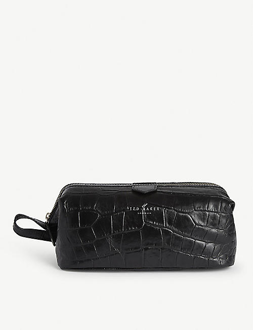 TED BAKER Crawl croc-embossed leather wash bag