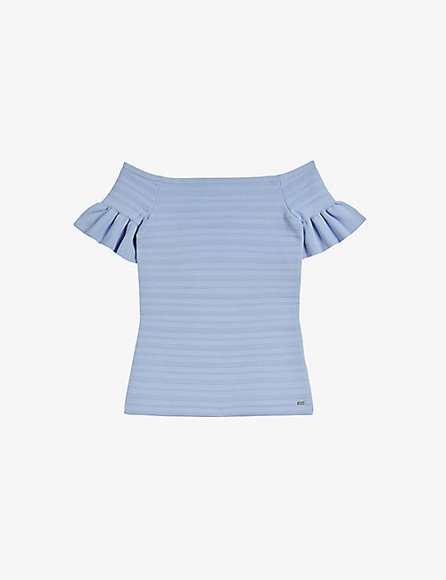 TED BAKER: Bardot frill-detail knitted top
