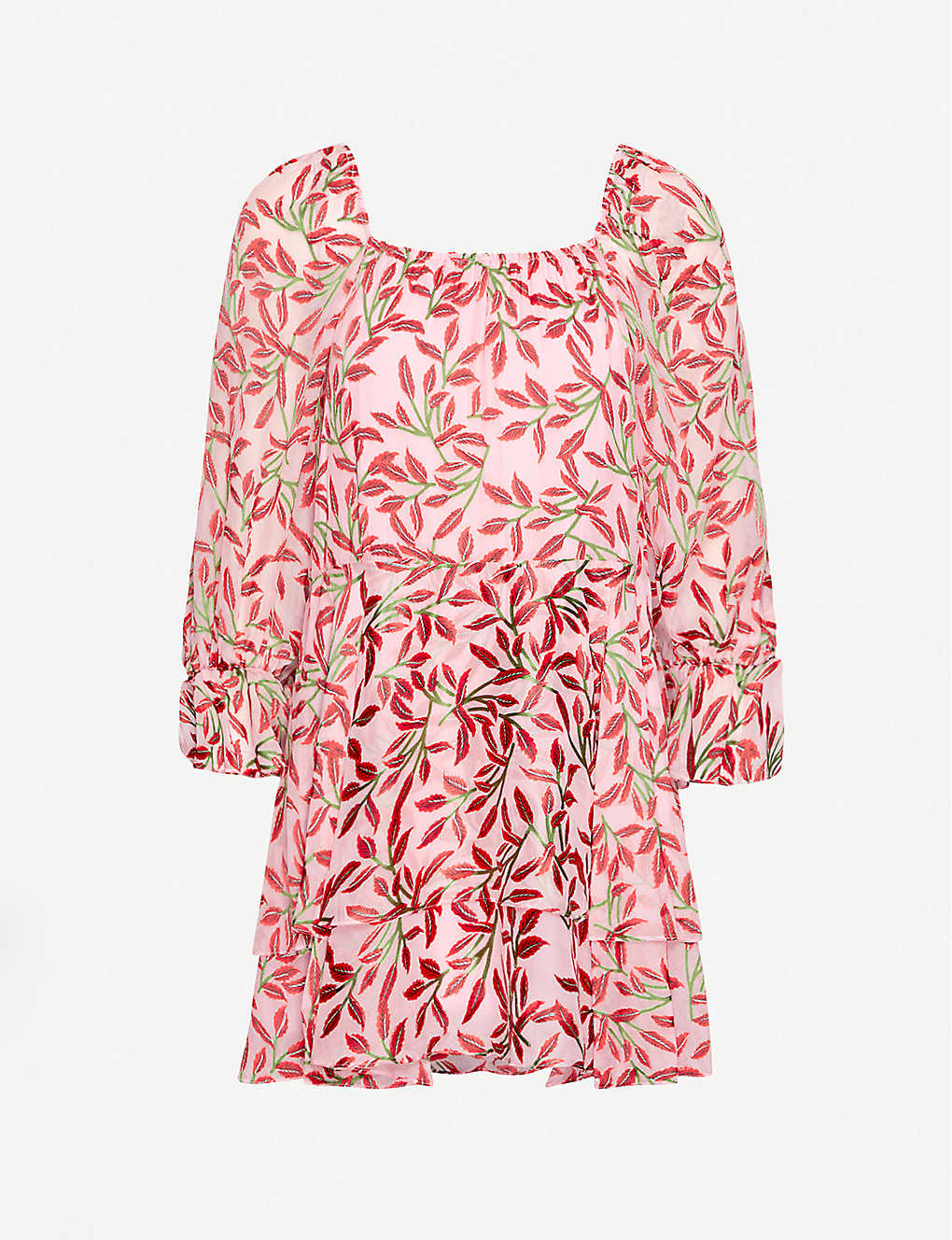ALICE & OLIVIA: Floral-print crepe and silk mini dress