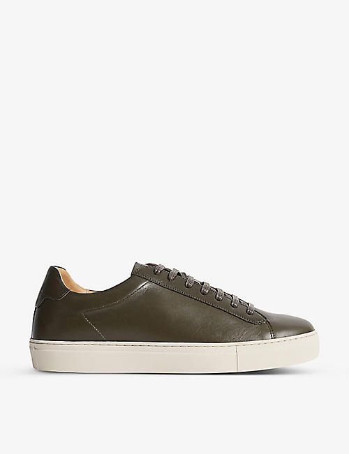 REISS: Finley leather low-top trainers