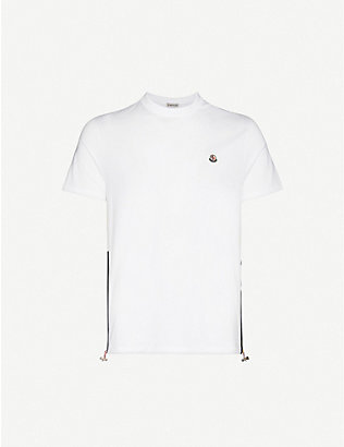 MONCLER: Branded patch-embroidered cotton-jersey T-shirt
