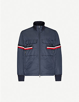 MONCLER: Striped-trim funnel-neck shell jacket