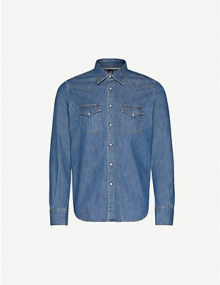 ELEVENTY: Texas slim-fit stretch-denim shirt