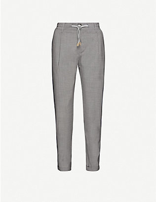 ELEVENTY: Mid-rise tapered wool jogging bottoms