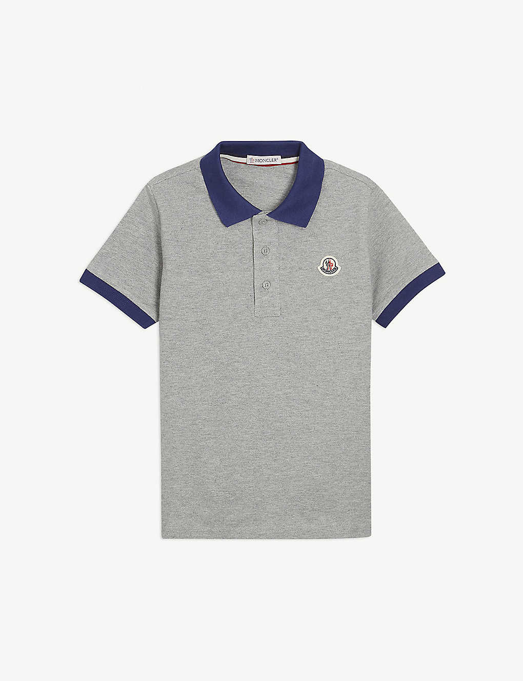 MONCLER: Branded cotton polo shirt 4-14 years