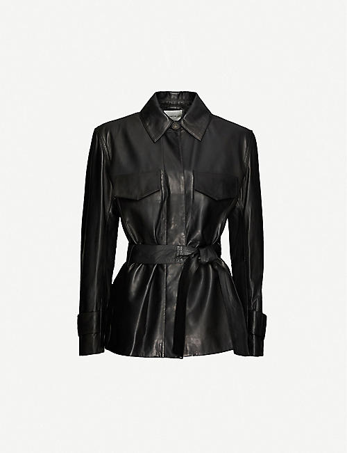 VINCE: Safari belted collared leather jacket