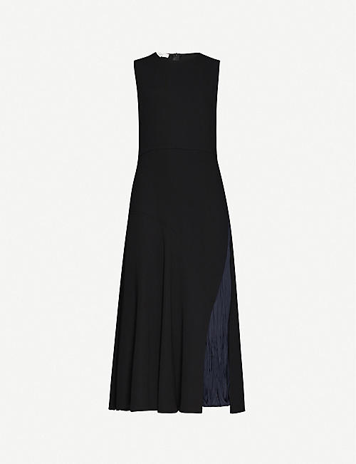 VINCE Contrast-panel crepe midi dress