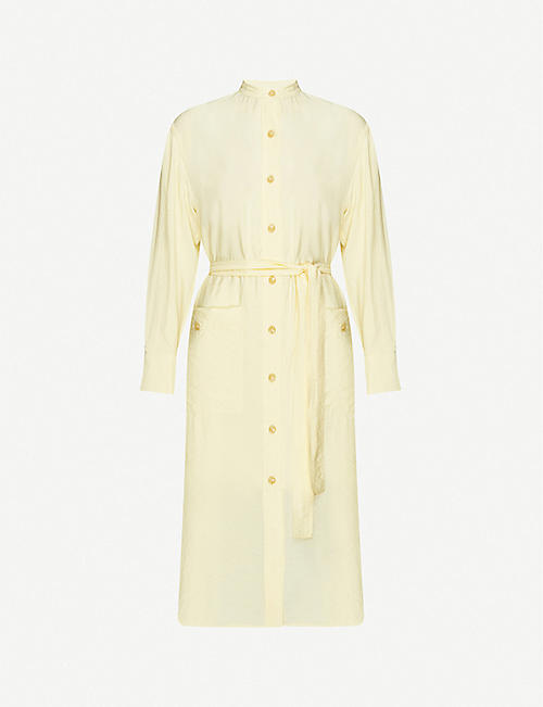 VINCE Belted button midi dress