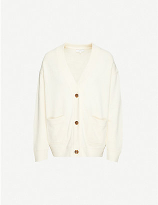 VINCE: Oversized V-neck cotton cardigan