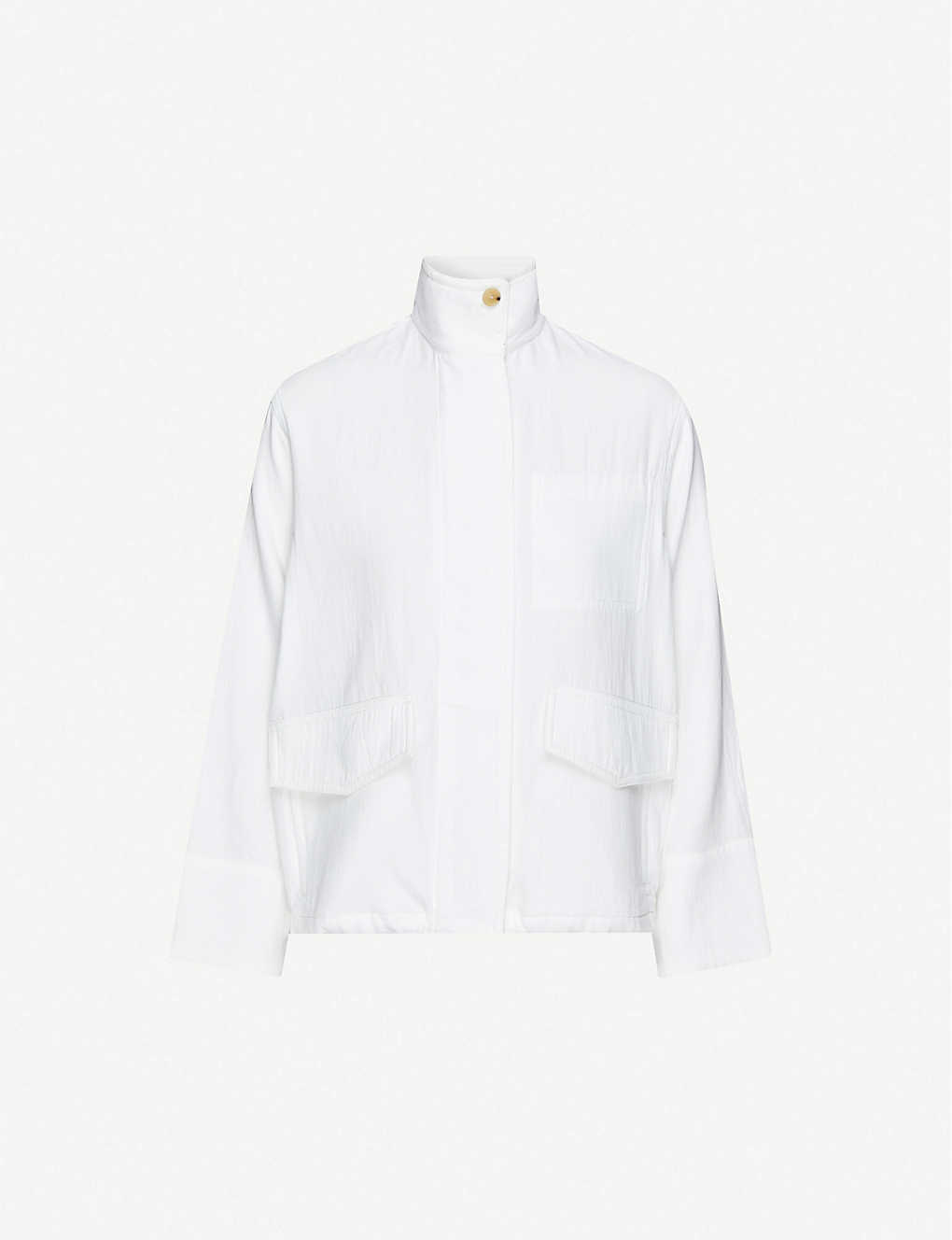 VINCE: Funnel-neck cotton-twill jacket