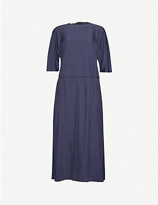 VINCE: Scoop-neck woven midi dress