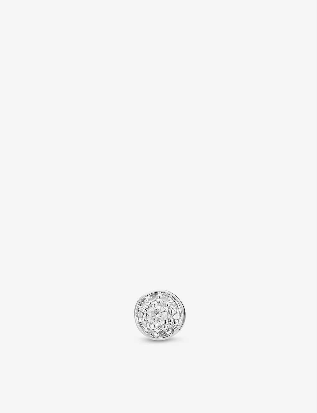 MONICA VINADER: Fiji Tiny Button sterling silver and diamond single stud earring