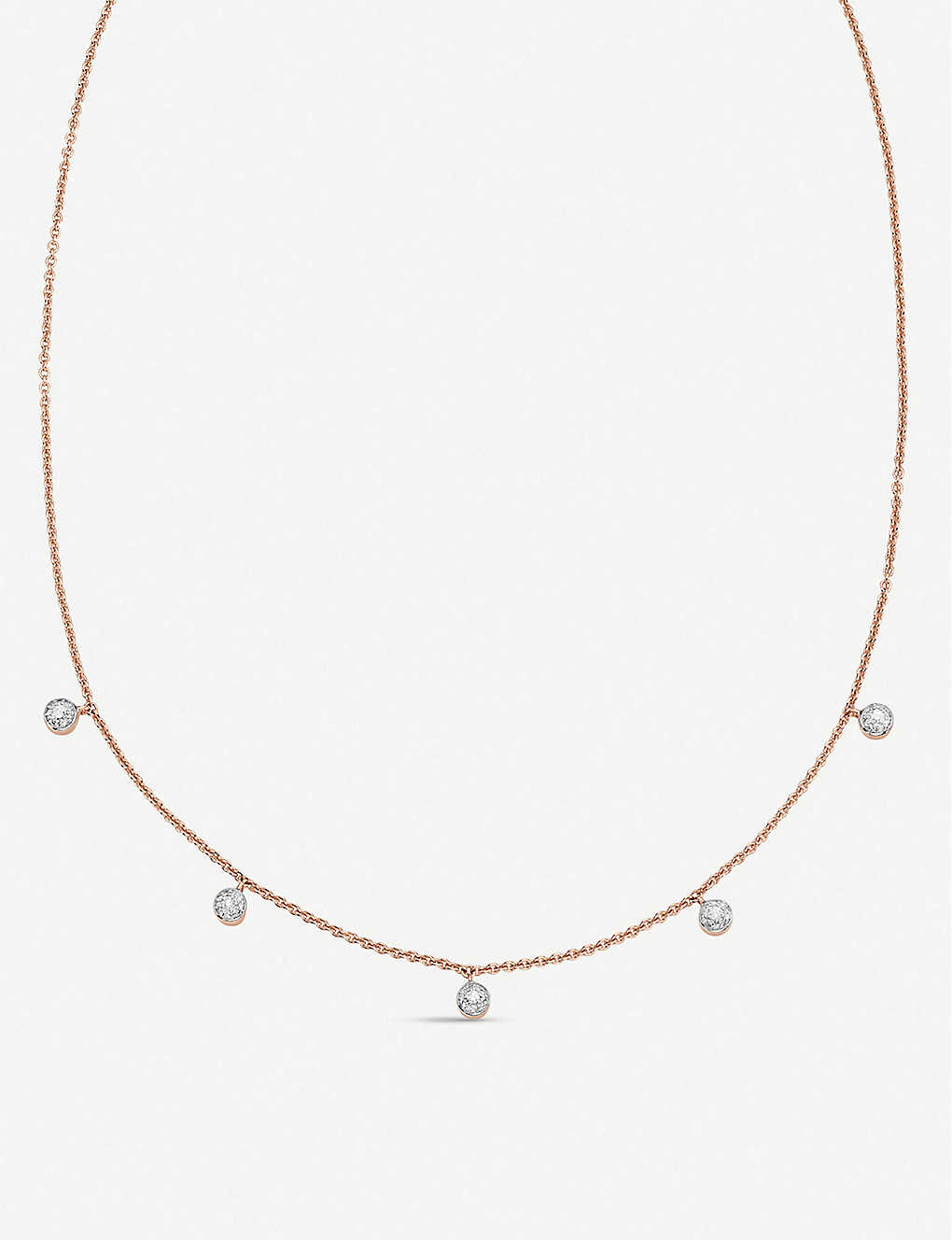 MONICA VINADER: Fiji Tiny Button 18ct rose gold-plated vermeil and diamond necklace