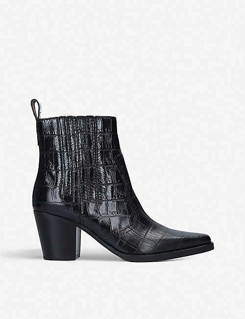 GANNI: Callie crocodile-embossed leather boots