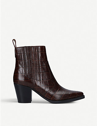 GANNI: Callie crocodile-embossed leather ankle boots