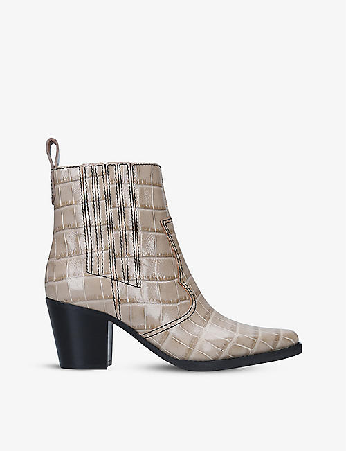 GANNI: Callie croc-embossed leather ankle boots