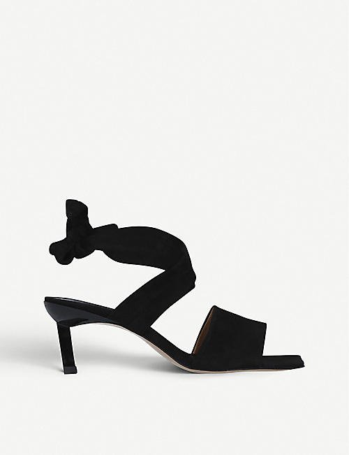 GANNI: Tie-up croc-embossed leather heeled sandals