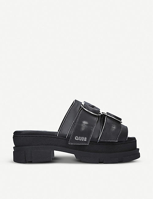 GANNI: Sporty chunky leather sandals