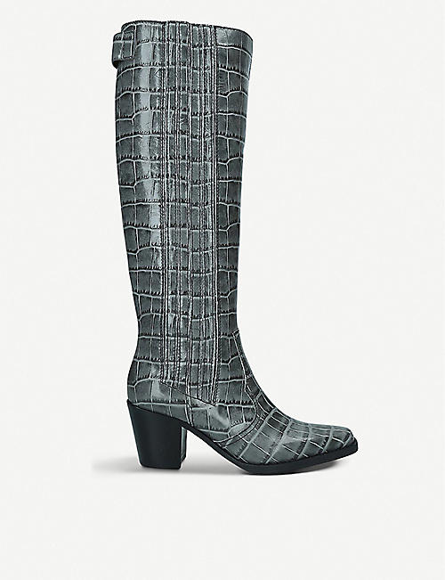 GANNI: Western croc-embossed leather knee-high boots