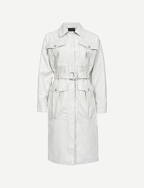PINKO: Diplomatica faux-leather trench coat