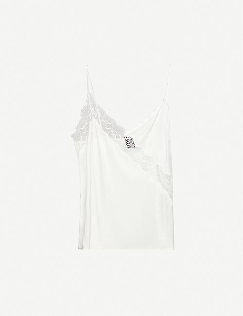 PINKO: Hamburger stretch-silk lace top