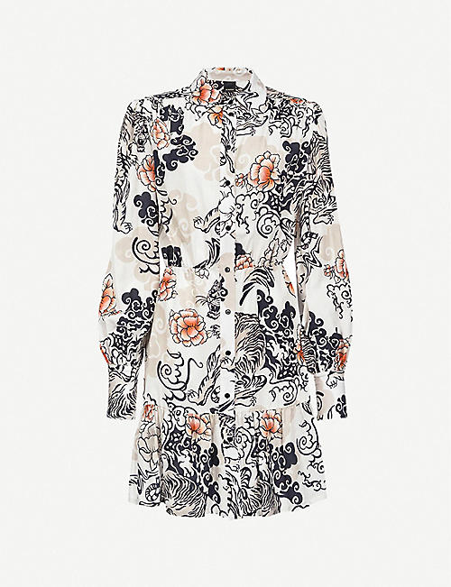 PINKO: Coccobil printed woven mini dress