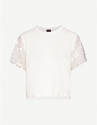 PINKO: Sequin-embellished cotton-jersey T-shirt