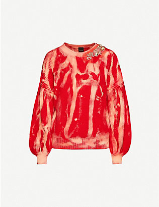 PINKO: Abstract-print embellished cotton-knit jumper