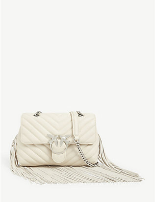 PINKO: Love Puff leather fringed shoulder bag