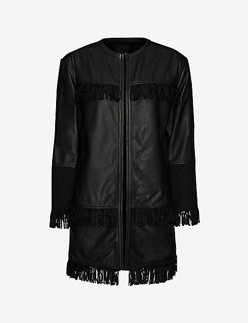 PINKO: Mazinga leather fringe jacket