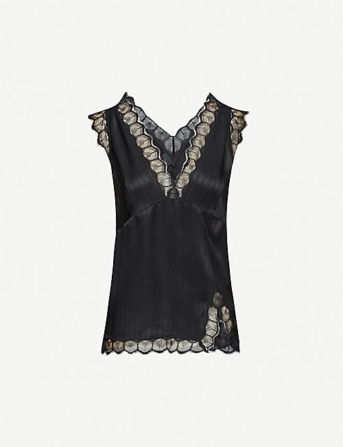 PINKO: Semolino lace-trim satin top