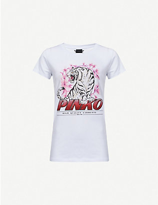 PINKO: Pimpi graphic-print cotton-jersey T-shirt