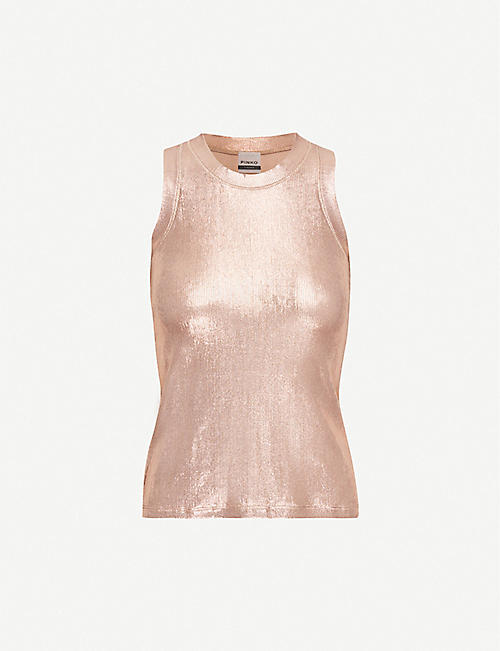 PINKO Valutare metallic racerback top
