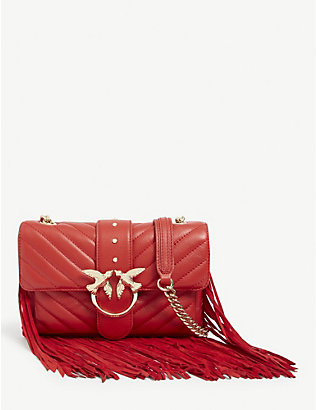 PINKO: Mini Love leather fringed shoulder bag