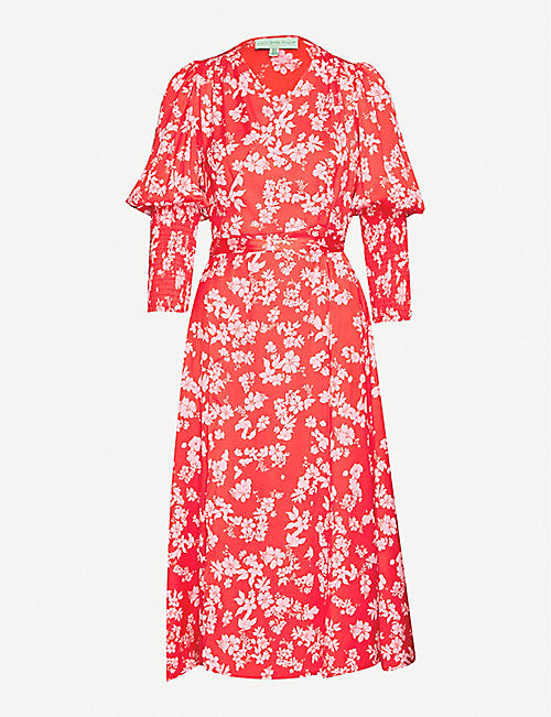 NEVER FULLY DRESSED Victoria floral-print satin wrap dress