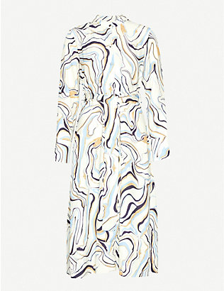CHINTI AND PARKER: Marble-print woven midi dress