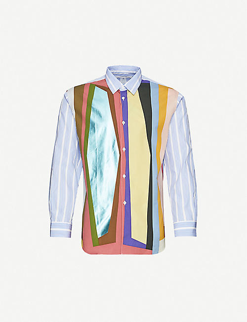 COMME DES GARCONS SHIRT: Colour-blocked regular-fit cotton shirt