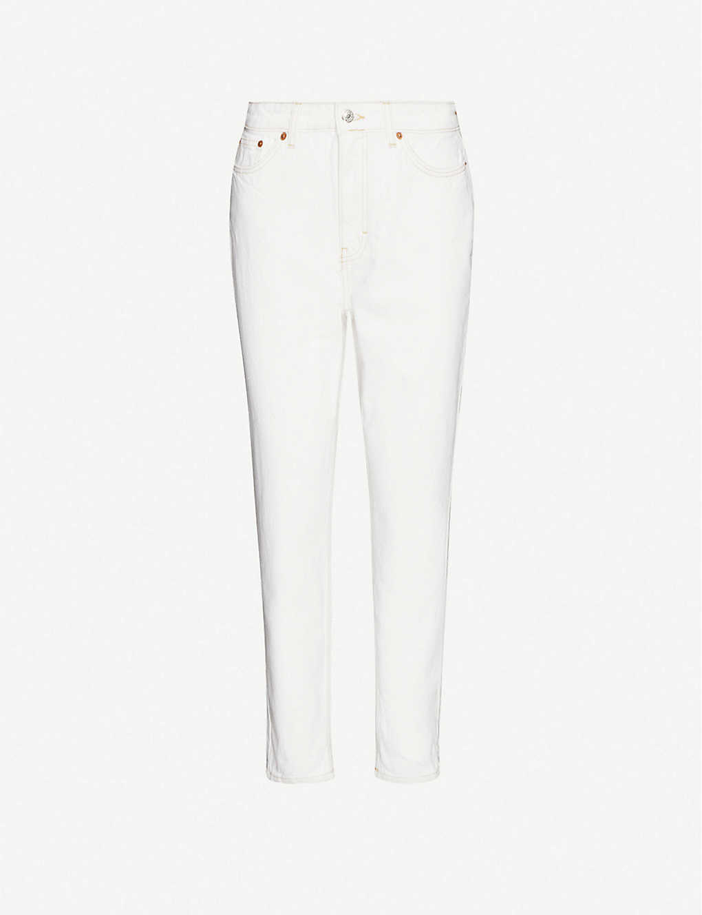 TOPSHOP: Straight high-rise cotton-twill jeans