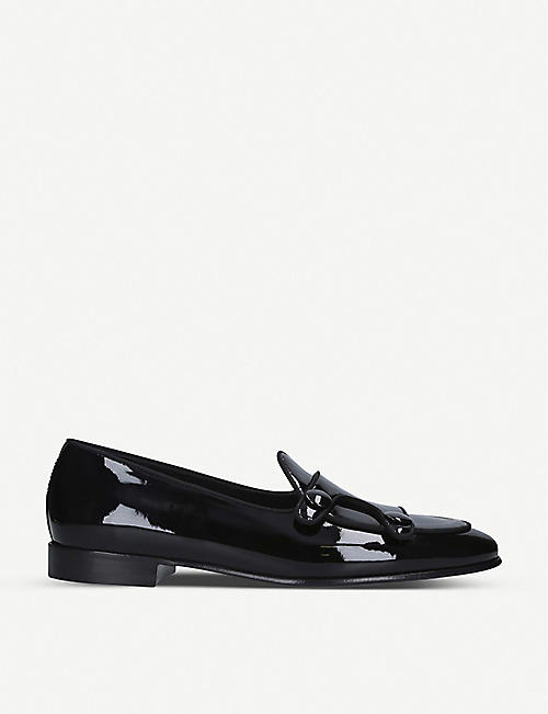 EDHEN MILANO: Brera double-buttoned patent-leather monk shoes