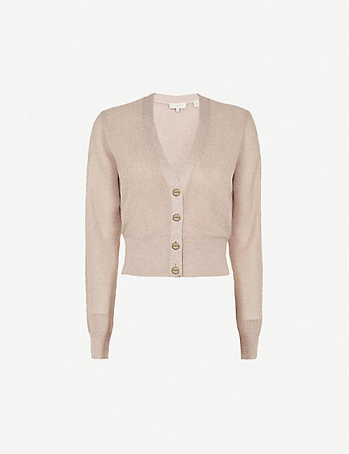 TED BAKER: Madieyy cropped V-neck knitted cardigan