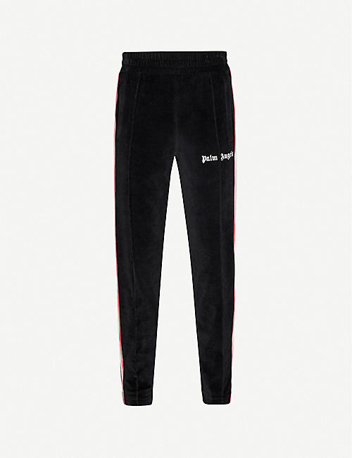 PALM ANGELS Tie-dye-trim velour jogging bottoms