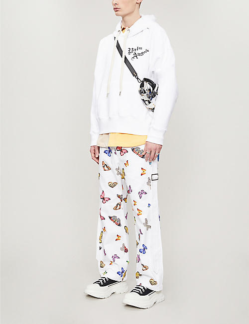 PALM ANGELS Butterfly-print regular-fit cotton-twill trousers